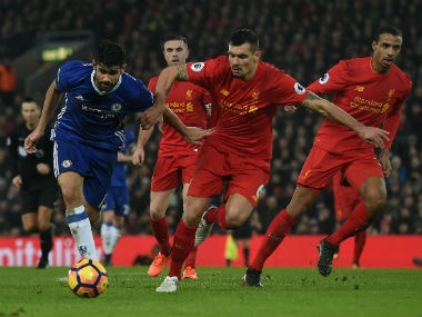 Diego Costa failed to convert a late penalty against Liverpool. AFP