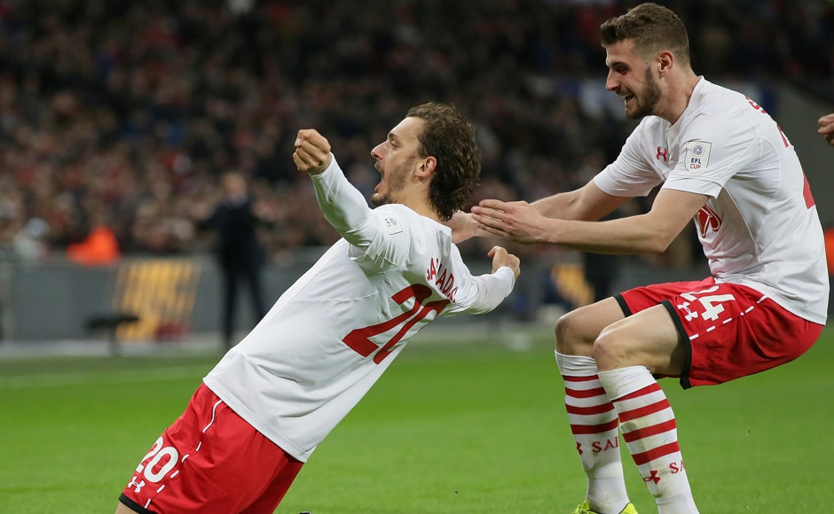 Southampton's Manolo Gabbiadini, left, and Southampton's Jack Stephens celebrate after scoring the side's second goal in the League Cup final. AP