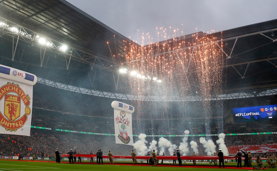 General view of fireworks before the League Cup final between Manchester United and Southampton started. Reuters