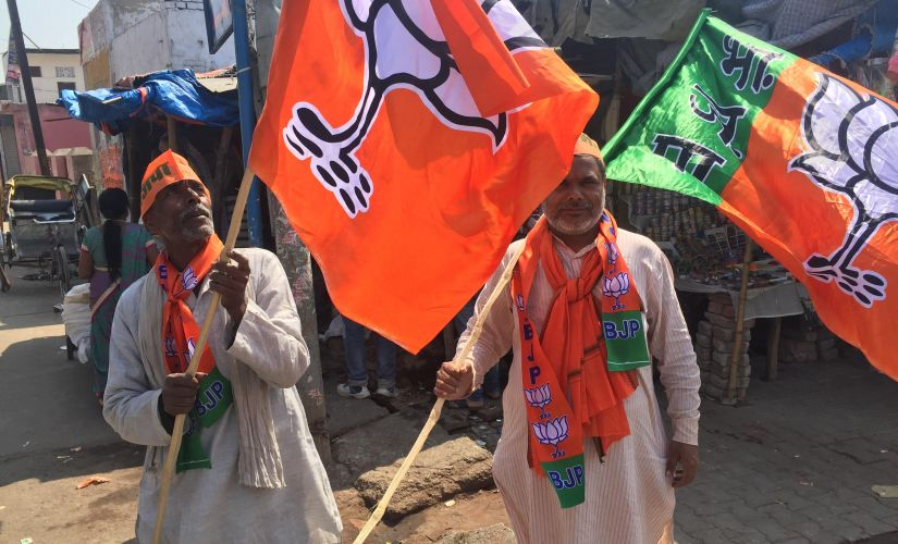 BJP workers in Ayodhya said they campaign on the plank of mandir during door to door campaign. Image courtesy: Parth MN/Firstpost