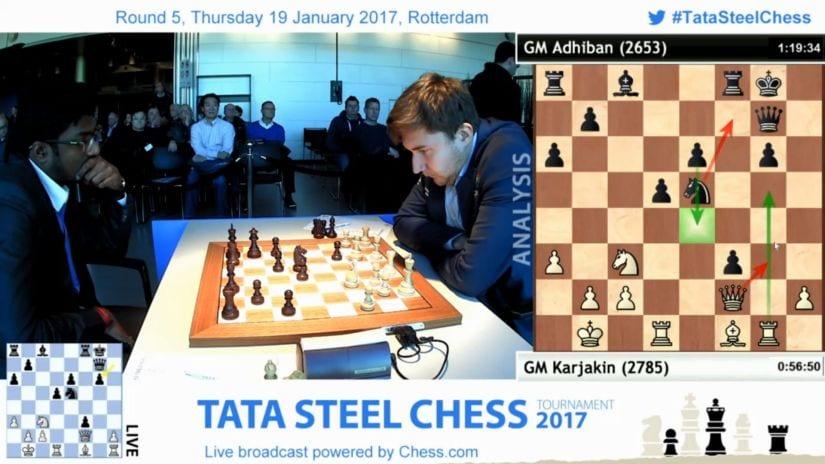 The game which changed Adhiban's entire tournament – his win against the World Championship Challenger Sergey Karjakin. Firstpost/Sagar Shah