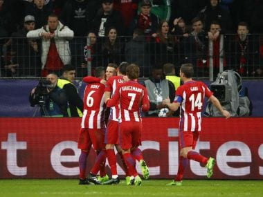 Atletico Madrid's Kevin Gameiro celebrates scoring their third goal from the penalty spot. Reuters