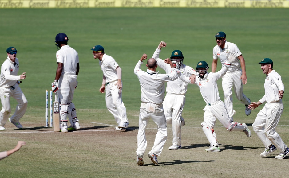 The Australians go wild with celebrations after winning the first Test by 333 runs. AP