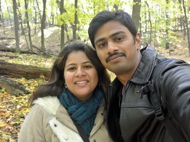 Srinivas Kuchibhotla, right, poses for photo with his wife Sunayana Dumala in Cedar Rapids, Iowa. AP