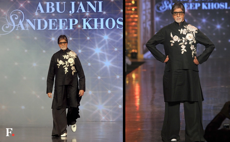 Amitabh Bachchan carries off a funky black outfit with elan. Sachin Gokhale/Firstpost