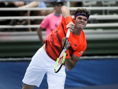 Milos Raonic in action during the Delray Beach Open. AP