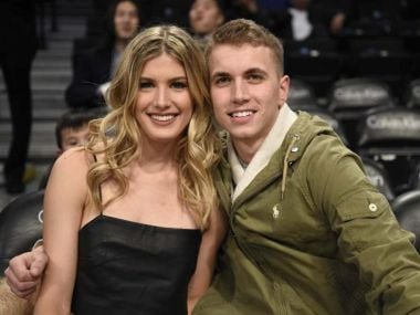 Eugenie Bouchard with John Goehrke at a Brooklyn Nets NBA home. Image courtesy: Twitter