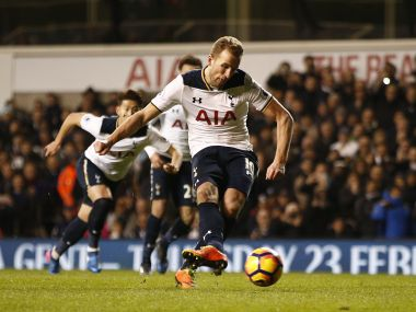 Tottenham's Harry Kane scores their first goal from the penalty spot. Reuters