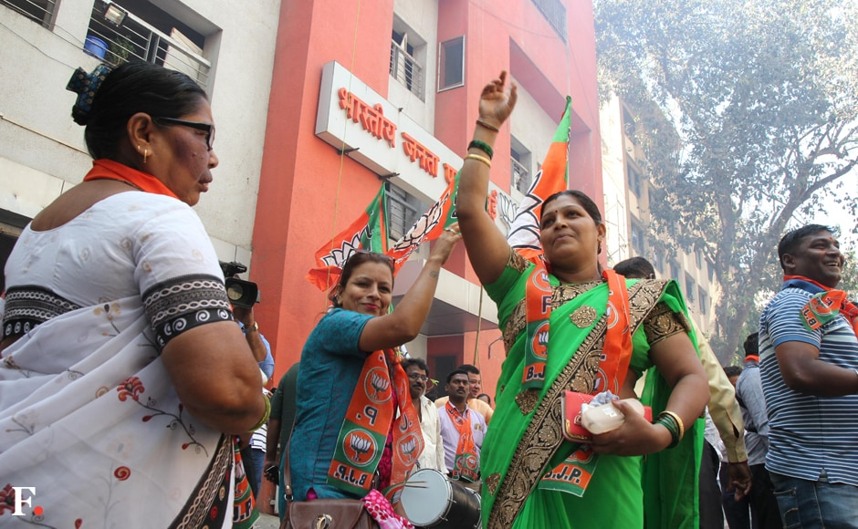 BJP workers celebrate their victory at Kathak Bhavan in Dadar on Friday. Sachin Gokhale/Firstpost