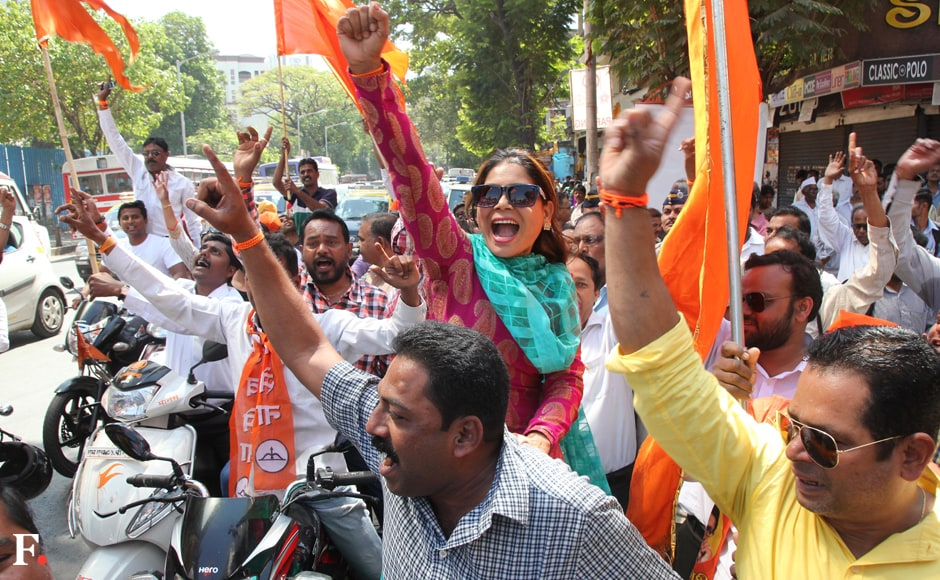 Sena workers ride through the city, celebrating their win. Sachin Gokhale/Firstpost