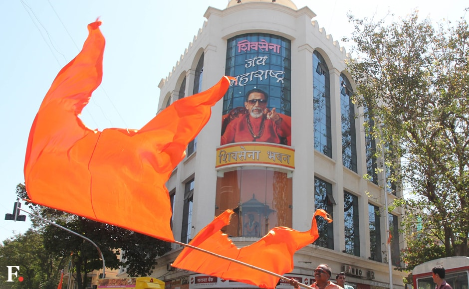 Shiv Sena flags fly high at the Sena Bhavan in Dadar. Sachin Gokhale/Firstpost