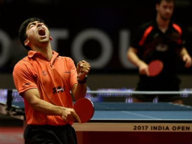 Harsheel Desai showed a spirited performance to beat T Flores. PTI