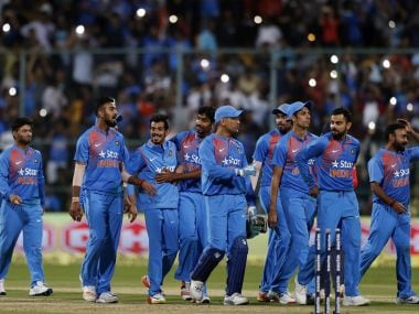 India celebrates series win over England at Bangalore. AP