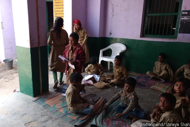 Children from grades I to V in Bharehta primary school, Mirzapur district. Parents in UP said government school teachers are not motivated enough to teach well, while teachers said students do not come regularly to school.