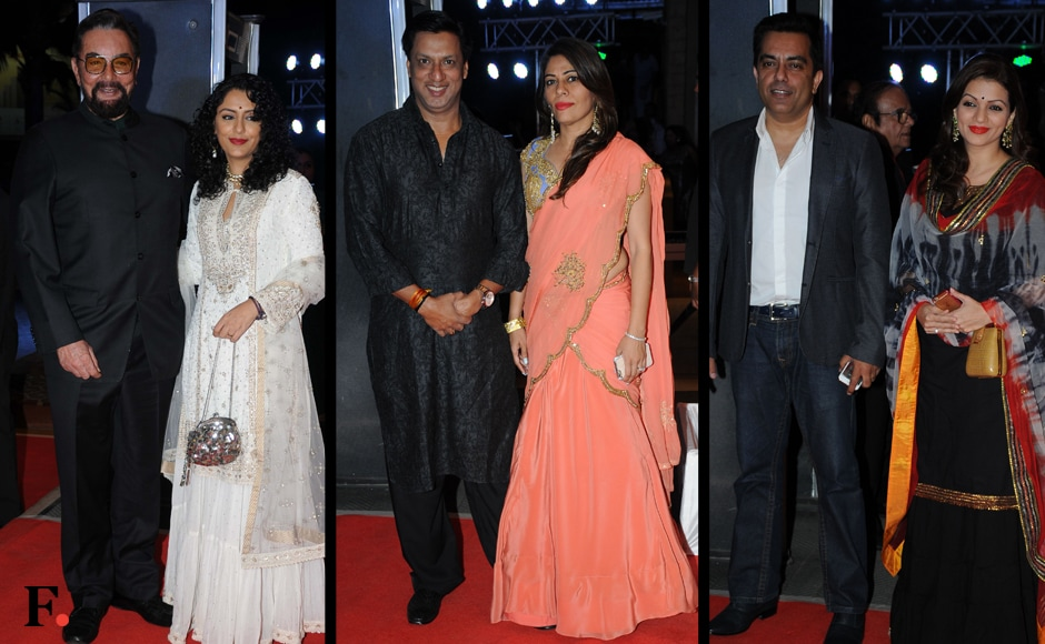 Kabir Bedi with Parveen Dusanj, Madhur Bhandarkar with wife Renu Namboodiri and Prachi Shah with Vishwaas Paandya were also seen at the do. Image: Sachin Gokhale/Firstpost