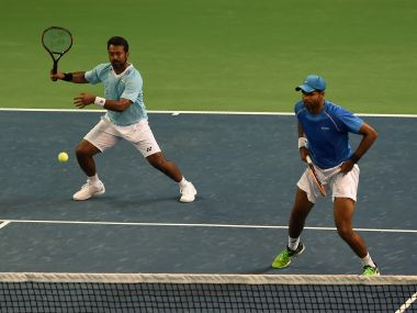 India's Leander Paes and Vishnu Vardhan compete in the Davis Cup doubles match against New Zealand. AFP