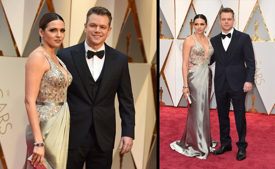 Luciana Barroso, left, and Matt Damon arrive at the Oscars on Sunday, Feb. 26, 2017, at the Dolby Theatre in Los Angeles. (Photo by Jordan Strauss/Invision/AP)