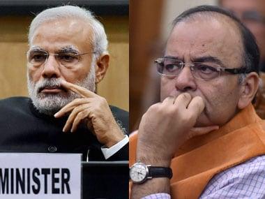 Narendra Modi and Arun Jaitley. PTI