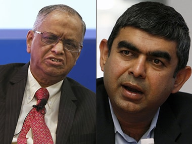 Narayana Murthy and Vishal Sikka, Reuters