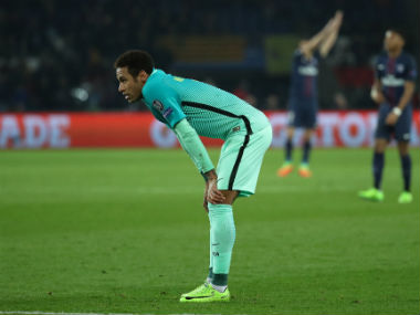 FC Barcelona's Neymar wears a dejected look after his sides 0-4 loss to Paris Saint-Germain. Reuters