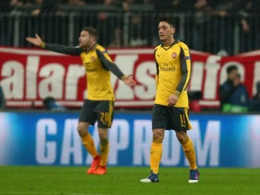 Arsenal's Mesut Ozil looks dejected after the defeat to Bayern Munich. Reuters