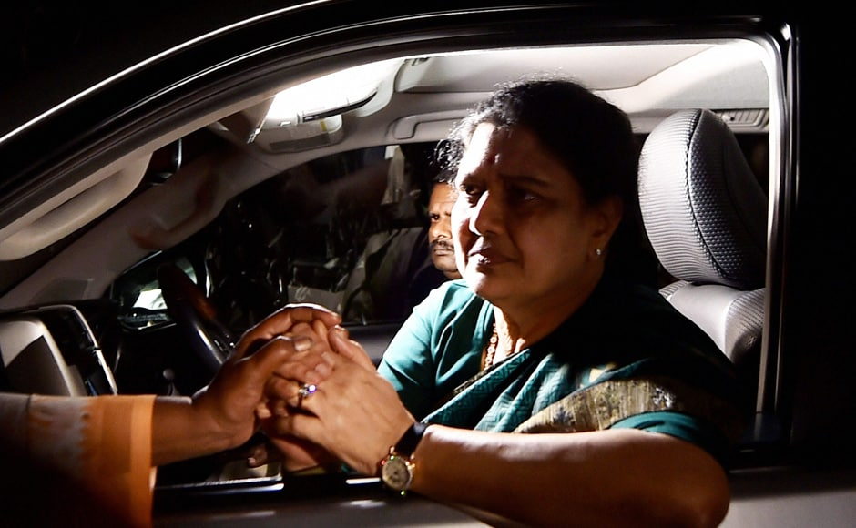 AIADMK leader VK Sasikala, who chose to stay with her MLAs, later left the resort for her Poes Garden residence on Tuesday. PTI