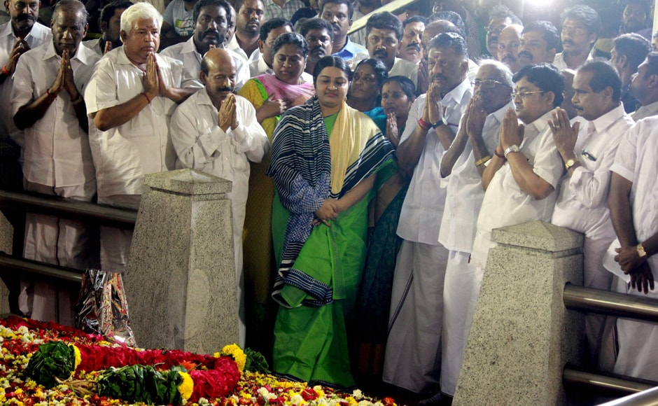 Deepa Jayakumar, niece of late chief minister Jayalalithaa, paid rich tributes at the Jayalalithaa memorial at Marina Beach. She was accompanied by caretaker chief minister O Panneerselvam and his supporters. PTI