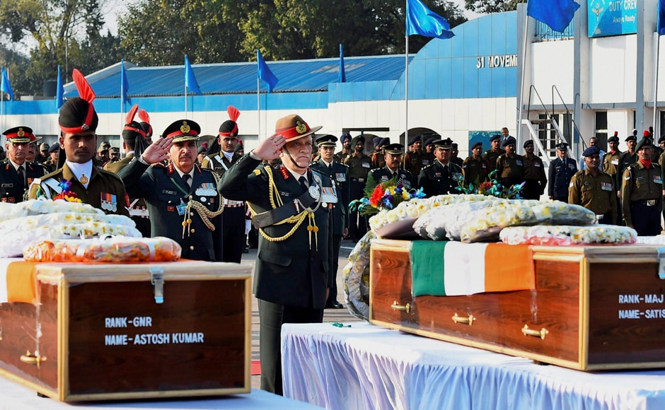 Army Chief Gen Bipin Rawat paid homageto the soldiers who died fighting militants. Major S Dahiya and three other soldiers were killed in two separate encounters in Kashmir on Tuesday.PTI