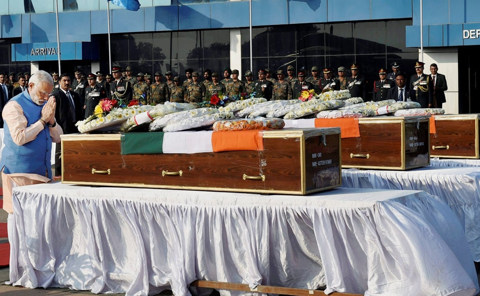 The Prime Minister was returning from Kannauj in Uttar Pradesh after addressing an election rally there when he paid his last respects to the bravehearts. PTI