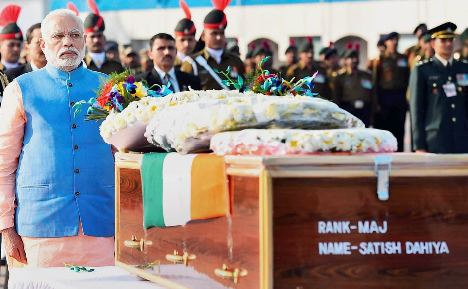 Prime Minister Narendra Modi paid tribute to security personnel who lost their lives in encounters with terrorists in J&K, at AFS Palam in New Delhi on Wednesday. PTI