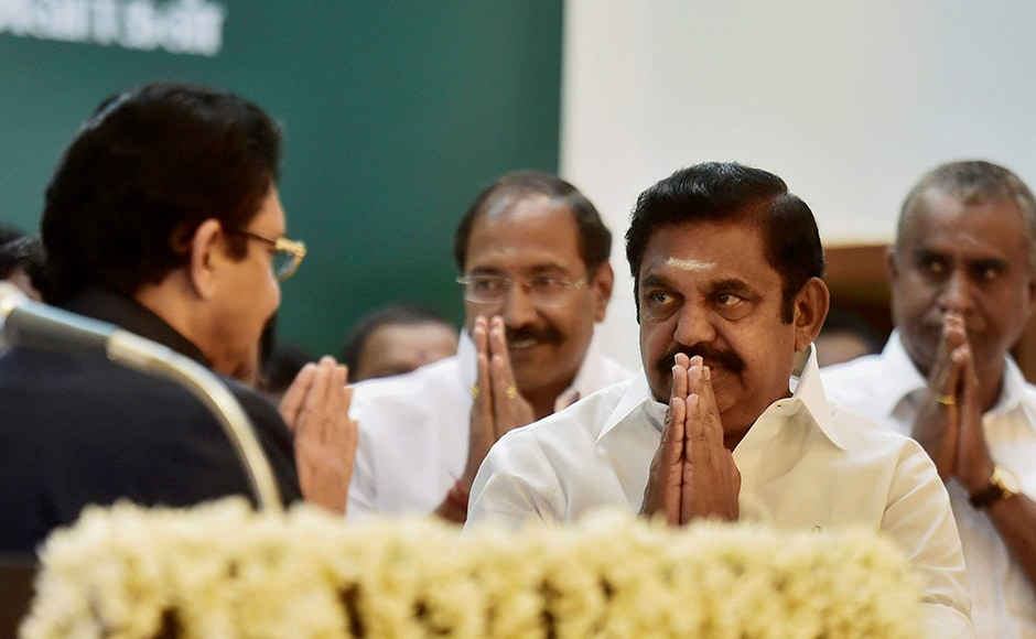 Tamil Nadu Governor C Vidyasagar Rao welcomes Edappadi K Palaniswami ahead of the latter's swearing-in ceremony at Raj Bhavan in Chennai on Thursday. PTI