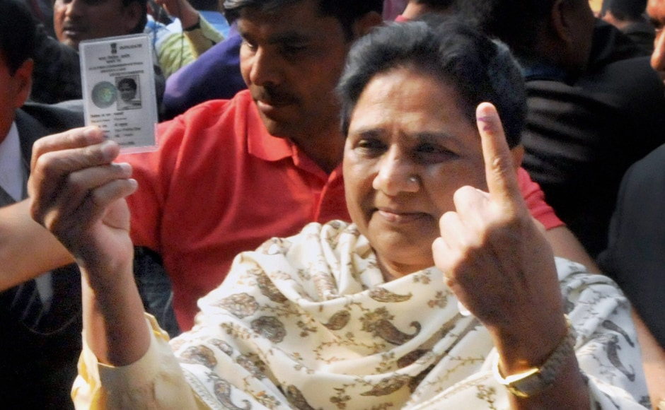 Bahujan Samaj Party supremo Mayawati shows her inked finger after casting her vote during the third phase of the Uttar Pradesh Assembly election in Lucknow on Sunday. Mayawati, who cast her vote in the Mall Avenue constituencyof Lucknow, expressed confidencethat BSP would win over 300 of the 403 seats. PTI