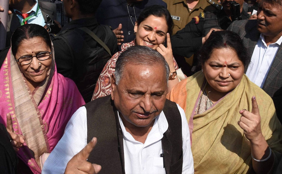 Samajwadi Party patron Mulayam Singh Yadav with his wife (right), daughter-in-law and SP candidate Aparna Yadav (behind) after casting vote during the third phase of Uttar Pradesh Assembly elections on Sunday. PTI