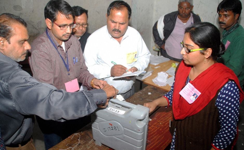 Polling officials seal EVMs after the third phase of Assembly electionsin Uttar Pradesh was concluded on Sunday. Polling was held in 12 districts, including Kannauj, Mainpuri and Etawah, besides Lucknow, Farrukhabad, Hardoi, Auraiya, Kanpur Dehat, Kanpur, Unnao, Barabanki and Sitapur. PTI
