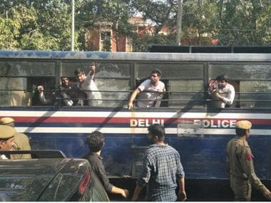 Protests at Ramjas College. News18