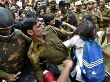 Violence at Ramjas College. Image Courtesy: Facebook/Comrade Sunil