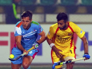 Players in action during the match between Uttar Pradesh Wizards and Ranchi Rays. PTI