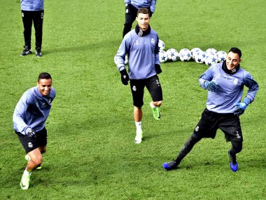Real Madrid players including Cristiano Ronaldo in a training session ahead of their Champions League clash. AFP