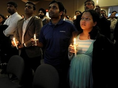 A candlelight vigil to honour slain engineer Srinivas Kochibhotla. Reuters