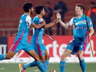UP Wizards celebrate a goal during their match against Punjab Warriors. Twitter/ @HockeyIndiaLeag