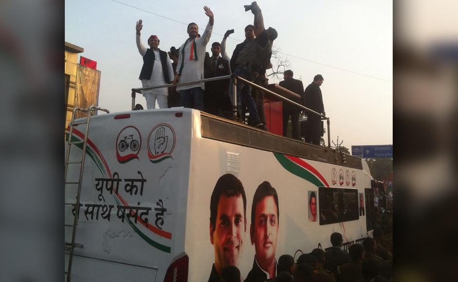 Earlier, Rahul Gandhi's efforts to reach out to the people in Uttar Pradesh have largely remained unproductive. Even his Khat pe Charcha programs proved to be a damp squibs. However, an alliance with SP has not only garnered respectable footfall in his rallies, but the Congress was also successful in bagging a fair share of seats in the allaince. Image Credit: Sameer Qureshi/Firstpost