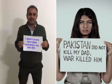 Virender Sehwag's tweet and Gurmehar Kaur's placard from a year ago. Image courtesy: Twitter and YouTube.