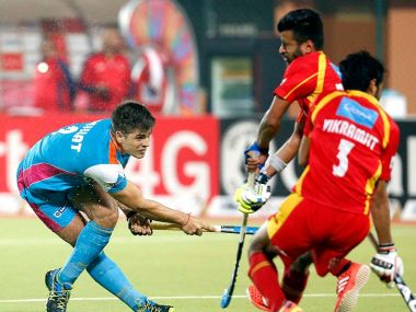 Uttar Pradesh Wizards and Ranchi Rays played out a goalless draw on Saturday. Image courtesy: Twitter/@HockeyIndiaLeag