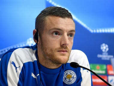 Jamie Vardy addresses the media before Champions League clash against Sevilla. Getty Images