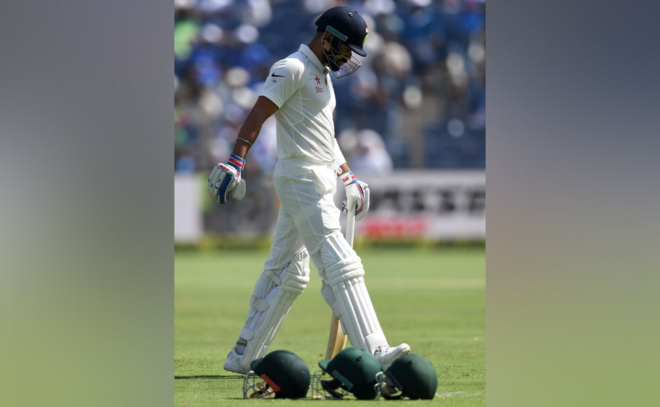 India skipper Virat Kohli cuts a disappointed figure after getting dismissed for a two-ball duck in the first innings, his first such score in two-and-a-half years. AFP