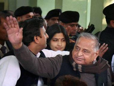 Mulayam Singh Yadav and Akhilesh Yadav. PTI
