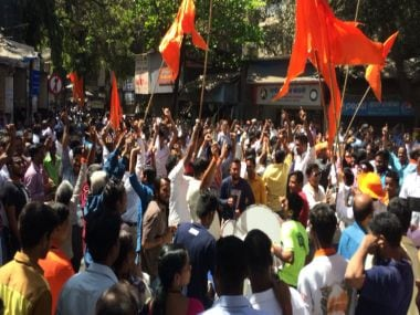 Celebrations outside the Sena Bhavan on BMC election counting day. Firstpost/Akshay Japtap