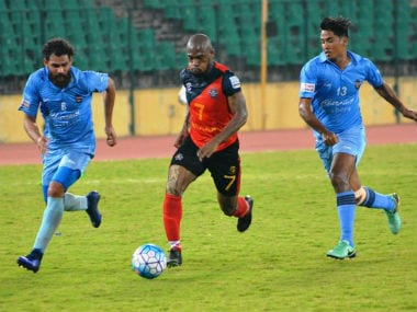 I-League action between Chennai City FC and Churchill Brothers. Image courtesy: Twitter/@ILeagueOfficial