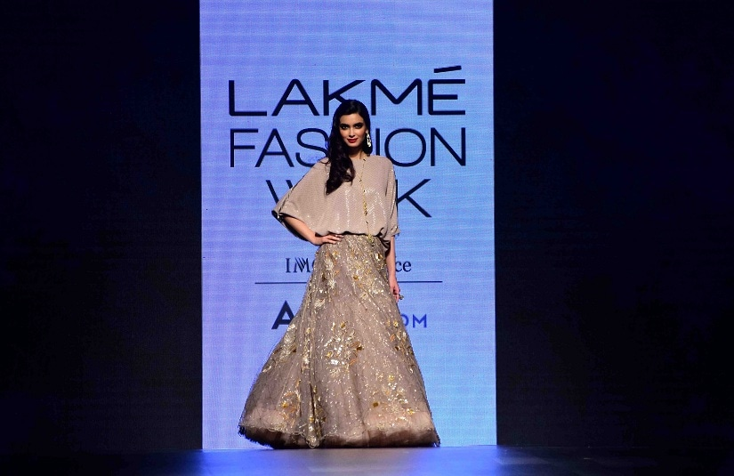 Bollywood actor Diana Penty displays the creation of fashion designer Payal Singhal during the Lakme Fashion Week Summer/Resort 2017, in Mumbai, India on February 3, 2017.(Sanket Shinde/ SOLARIS IMAGES)