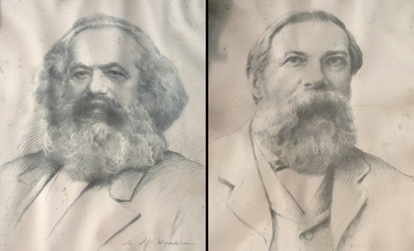 Portraits of revolutionary socialists Karl Marx and Friedrich Engels hung on the walls of CPI's Ghazipur unit. Firstpost/Asif Khan